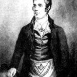 Robert Burns wearing a Masonic apron